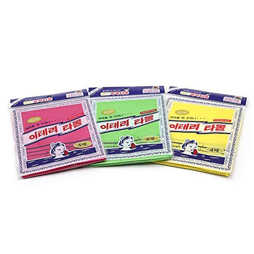 12 Stück asiatischer Peeling-Waschlappen – Rot & Grün & Gelb
