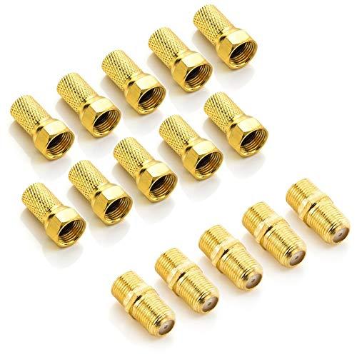 deleyCON F-Stecker Set mit 5X Verbinder & 10x F-Stecker 7mm Gummidichtung Breite Mutter Koaxialkabel Antennenkabel für Sat Kabel BK Anlagen