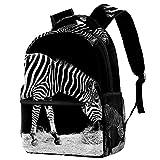 XiangHeFu Mochila escolar para niñas niño caminata al aire libre bolsa de viaje mochila Zebra Black White Walk Mochila estampada