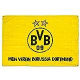 Borussia Dortmund Balkonfahne/Fahne/Flagge/Flag groß 150 x 100 cm BVB 09 - Plus gratis Aufkleber Forever Dortmund