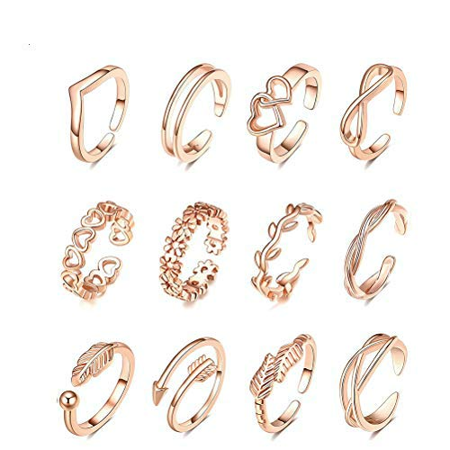 Merkts Rose Gold Open Rings Set Finger Ring Joint Ring Toe Ring Beach Gifts for Women Girls Adjustable