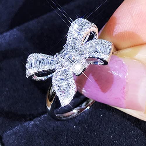 liuliu Pajarita Escalera Anillos de Diamantes Hermoso Lujo Simulación Joyería de Moda Temperamento Anillo de Boda Femenino para Mujeres