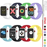 Sport Band Compatible with Apple Watch 38mm 40mm 42mm 44mm,Soft Silicone Strap Replacement Wristbands Compatible with Apple Watch Sport Series 5/4/3/2/1 Nike+ Sports and Edition