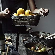 Coussin de chaise Stockage métal panier fer American Vintage boîte de rangement fleurs Pot de fleurs de cuisson Panier de ...