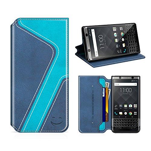 MOBESV Smiley BlackBerry Keyone Hülle Leder, BlackBerry Keyone Tasche Lederhülle/Wallet Hülle/Ledertasche Handyhülle/Schutzhülle mit Kartenfach für BlackBerry Keyone, Dunkel Blau/Aqua