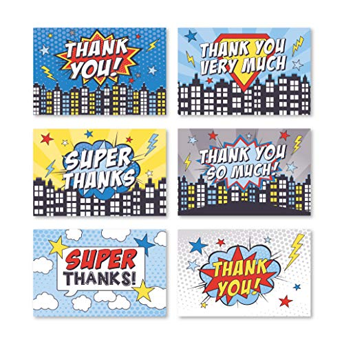 24 Superhero Thank You Cards With Envelopes, Kids Birthday Party or Adult Comic Red Blue Bam Pow Gratitude Supplies For Grad, Baby or Bridal Wedding Shower, For Boy or Girl Children Hero Stationery