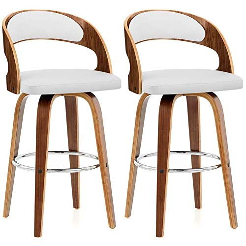 qddan Bar Stools Set of 2 Pcs Barstools Breakfast Kitchen Counter Bar Chair Table Wood Leg in nature Breakfast Dining Stools (Color : White)