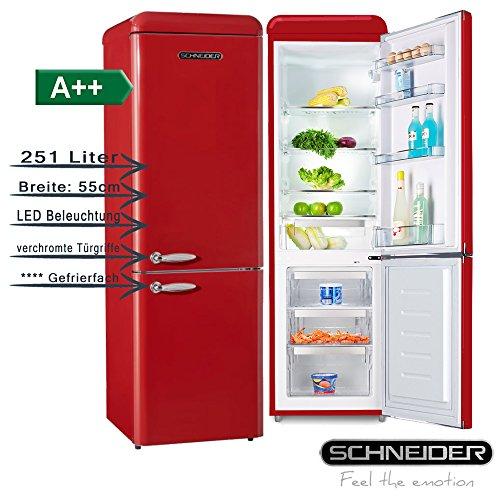 SCHNEIDER CONSUMER SL 250 FR-CB A++ nevera y congelador Independiente Rojo 251 L A++ - Frigorífico (251 L, N-ST, 42 dB, 4,5 kg/24h, A++, Rojo)