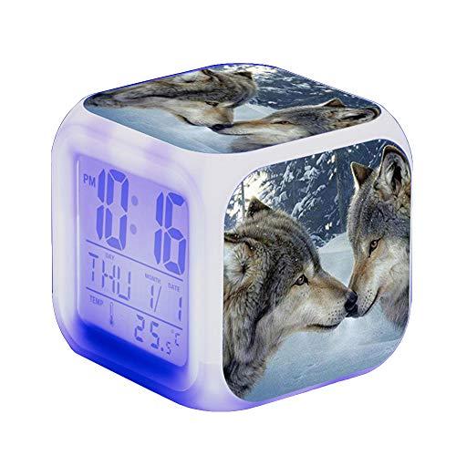 Wolf Wecker Kinder Wecker LED Night Nachttischwecker Quadrat Beleuchteter LCD Uhr Wake Up Wecker Geschenk Muster Wolf (#14)