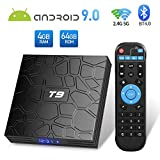 Sidiwen Android 9.0 TV Box T9 4GB Ram 64GB ROM RK3328 Quad-Core Cortex-A53 2.4GHz 5.0GHz WiFi Bluetooth 4.0 Ethernet USB 3.0 Soporte 3D 4K2K Ultra HD H.265 Smart Set Top Set