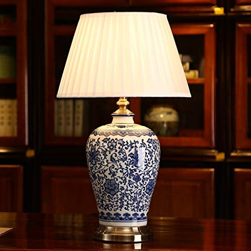 Bonne chose lampe de table Lampe de céramique créative en porcelaine bleue et blanche Lampe de chevet de chambre à coucher Lampes décoratives de Club Hotel