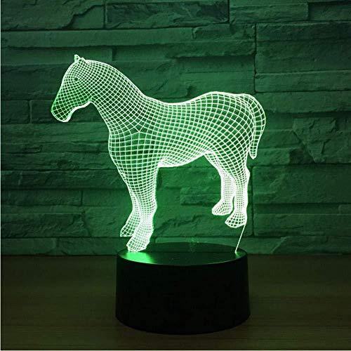 Preisvergleich Produktbild 3D-Licht 3D-Illusionslampe Pferd 3D-Nachtlicht Buntes Touch-Geschenk Touch 3D-Licht Zubehör Geburtstagsgeschenk für Babyzimmerleuchten 7 Farben