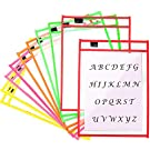 """10 Pack Dry Erase Pockets Reusable PVC Sleeves A4 for Classroom Organization Teacher School Supplies Office - 10"""" x 13.5"""" Assorted Colors"""