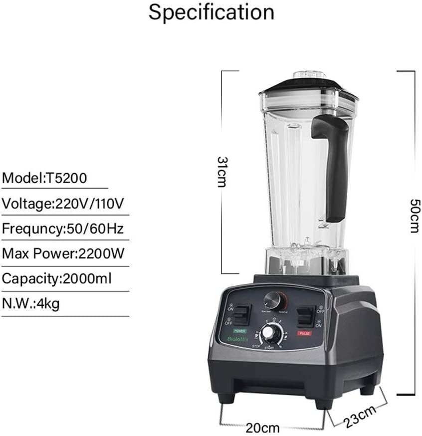 YJXD 2200W Heavy Duty Commercial Mixer Blender Minuterie Automatique De Qualité Juicer Fruits Robot Glace Smoothies Pot BPA 2L (Color : Titanium Grey) Extra Jar And 3parts