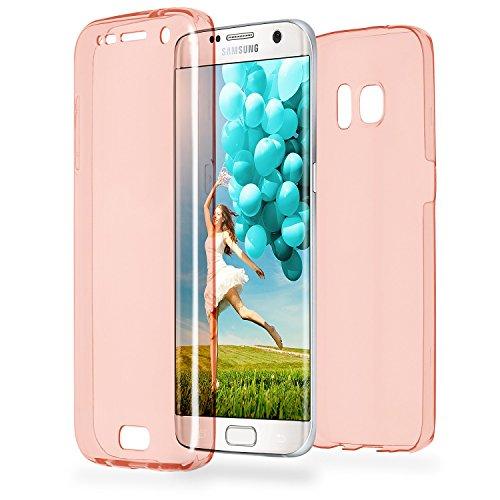 MoEx® Double Case kompatibel mit Samsung Galaxy S7 Edge Hülle Silikon Transparent | Beidseitige Handyhülle mit 360 Grad Komplett Rundum-Schutz, Rosa