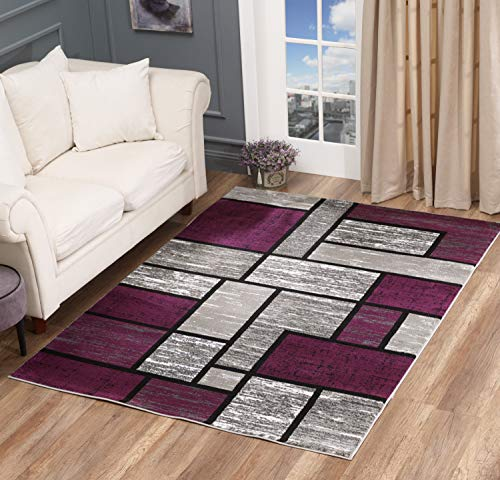 GLORY RUGS Area Rug Abstract Modern Boxes Grey Black Purple Carpet Bedroom Living Room Contemporary Dining Accent Sevilla Collection 6614 (5x7, Purple)