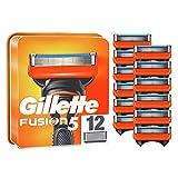 Gillette Fusion 5 Cuchillas de Afeitar Hombre, Paquete de 12 Cuchillas de Recambio
