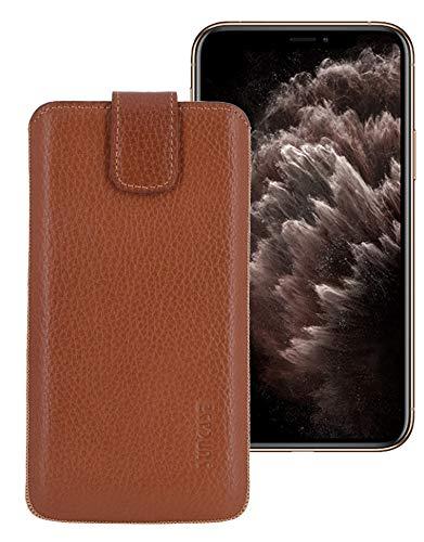 Suncase RM etui hoes compatibel met iPhone 11 Pro Max hoes lederen tas beschermhoes case | Incl. TPU, cognac