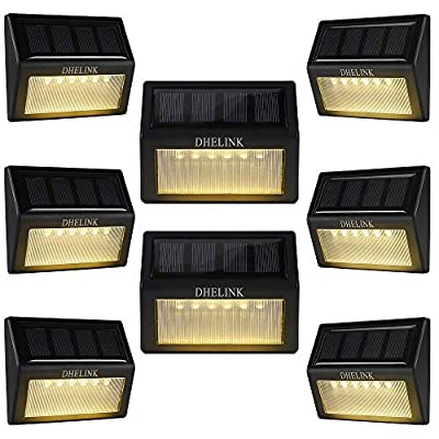 8 Pack Outdoor Solar Deck Lights, 6 LED Solar Step Lights Outdoor Waterproof Warm White Auto On/Off Solar Powered Stair Lights Lighting for Fence Yard Patio Garden Pathway Walkway