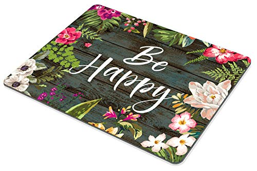 Smooffly Floral Mouse Pad Motiavation Quote Be Happy Neoprene Inspirational Quote Mousepad Office Space Decor Home Office Computer Accessories Mousepads Watercolor Vintage Flower Design Photo #6