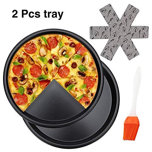 Teglie per pizza da 25,4 cm, teglia da cucina rotonda in alluminio resistente antiaderente, per ristoranti e pizza fatta in casa, lavabile in lavastoviglie (2 pezzi)