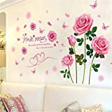Rose Wall Sticker Wall Stickers & Murals Home Décor Home Décor Accents for Living Room Flower Wall Decals Home Improvement Paint Wall Treatments Wall Decals Murals Decor Vinyl Removable Mural Paper