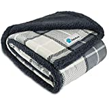 PetAmi WATERPROOF Dog Blanket for Bed Couch Sofa | Waterproof Dog Bed Cover for Large Dogs Puppy | Checkered Grey Sherpa Fleece Pet Blanket Furniture Protector | Reversible Microfiber 80x55 (Charcoal)