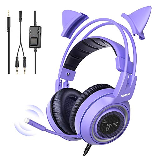 Somic G951S Lila Gaming-Headset mit Mikrofon für PS4, Xbox One, PC, Handy, Surround-Sound, abnehmbare Katzen-Ohr-Kopfhörer, leicht, selbsteinstellend, 3,5 mm Buchse