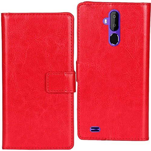 Lankashi PU Leder Tasche Hülle Für LG L Fino Dual D295 D290N Handy Flip Brieftasche Schutz Hülle Cover Etui Schutzhülle Klapphülle Handytasche (Rot)