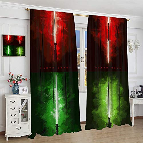 DRAGON VINES Anakin Lightsaber Luke Red LightsaberDarth Vader Y-o-da Family Living Room Club Art Deco Curtain Personalized bedroom and living room curtains 85x85inch(214x214cm)