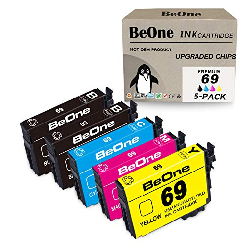 BeOne Remanufactured Ink Cartridge Replacement for Epson 69 T69 5-Pack to Use with Stylus NX415 NX510 NX400 NX110 NX215 NX300 NX100 NX515 Workforce 610 500 30 600 310 615 40 Printer (2BK 1C 1M 1Y)