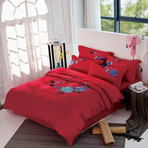 Teyun. Voll Cotton Schmetterling Dreidimensionale gestickte Lange Fleece Vier-Piece Reine Baumwollsatin Home Textile (Color : Red, Size : 150-180CM)
