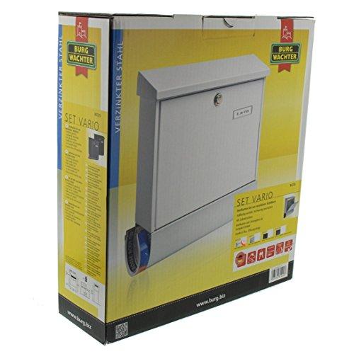 BURG-WÄCHTER, Briefkasten-Set mit Zeitungsbox A4 Einwurf-Format, Verzinkter Stahl, Set Vario W, Weiß - 7