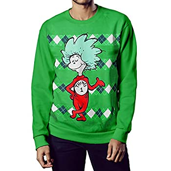 Dr Seuss Thing 1 or Thing 2 Mens Pullover Green  S Thing 1
