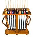 Cue Rack Only - 10 Pool - Billiard Stick & Ball Set Floor - Stand Choose Mahogany, Black Or Oak Finish (Dark Oak)