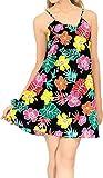 LA LEELA Vestido de la Playa de oscilación Hawaiano Campamento del Grupo Aloha Las Mujeres Mini Negro_Z56 L
