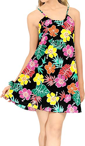 LA LEELA Mini-Camp Hawaiien Partie Aloha Femmes balançoire Robe de Plage Noir_Z56 L
