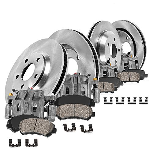 CCK01716 FRONT + REAR OE [4] Remanufactured Calipers + [4] Rotors + Quiet Low Dust [8] Ceramic Pads Premium Kit