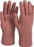 styleBREAKER Damen Touchscreen Stoff Handschuhe mit abnehmbaren Strick Stulpen, warme Fingerhandschuhe, Winter 09010022, Farbe:Altrose