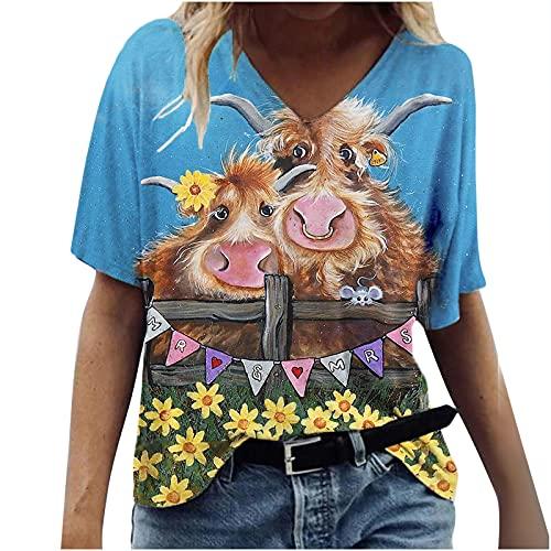 routinfly T-Shirt für Frauen Sommer, Frauen Casual Lose Tierdruck V-Ausschnitt Gedruckt Kurzarm T-Shirt Tops