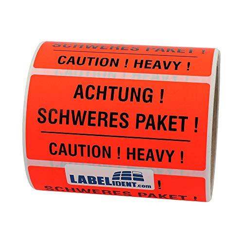 Labelident Warnetiketten auf Rolle 100 x 50 mm - Achtung! Schweres Paket! Caution! Heavy! - 1000 Versandaufkleber auf 1 Rolle(n), 3 Zoll Kern, Papier selbstklebend, leuchtrot