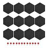 Ctzrzyt Paquete de 12 Tableros de Notas de Fieltro Tablero de Anuncios Decorativos Tablero de Anuncios Hexagonal, Azulejos de Corcho de Fieltro, DecoracióN de Pared de Tablones