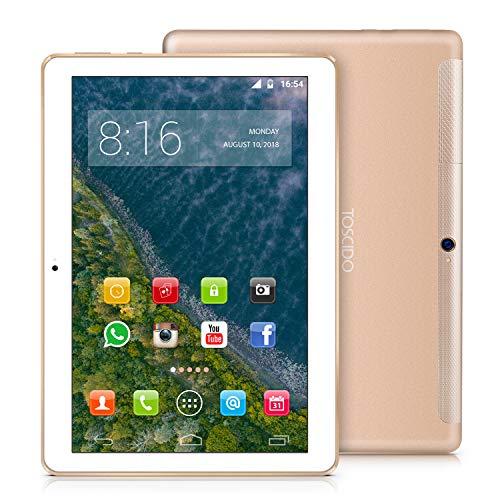 TOSCIDO 4G LTE Tablet 10 Zoll - Android 9.0 Zertifiziert von Google GMS,4GB RAM,64GB ROM ,Octa Core 2 GHz CPU schnelle Geschwindigkeit,Dual SIM,WiFi,Dual Stereo Lautsprecher - Golden