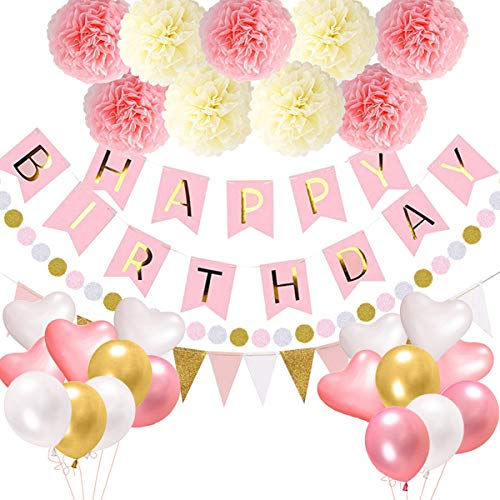 Jinxuny Gelukkige Verjaardag Decoraties Supplies, Gelukkige Verjaardag Banner Rose Goud Roze Helium Confetti Latex Ballonnen Pompom Flower Party Decor Set