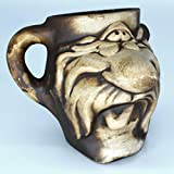 Funny clay mug 13 oz, with a funny face, not glazed. The mugs can be used as funny coffee mugs or small beer mugs. Such cute designer mugs are a cool present for dad and friends.