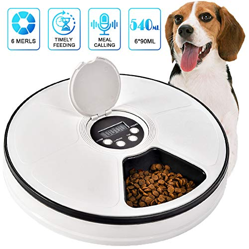 Pawzone Cat Automatic Feeder Dogs Pet Timed Feed 6 Meal Trays Dry Wet Food Dispenser with Voice Remind,LCD Smart Programmable Self Feeder (Black)