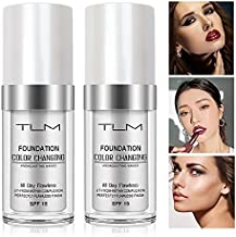 TLM Colour Changing Foundation Makeup,Flawless Color Changing Foundation with SPF Beauty Lightweight Hide Liquid Base Makeup Cream Moisturizing Organic Face Concealer Cover for Women Girls(2pcs)