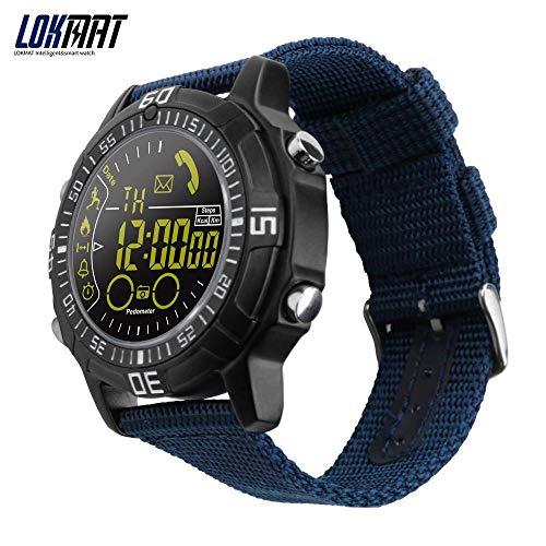 LOKMAT Smart Watch Uomo Sport Outdoor Orologi Pedometro Smartwatch Bluetooth Smart Electronics per iOS Android Phone (Nero)