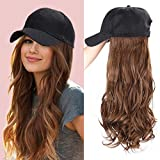 ENTRANCED STYLES Baseball Cap with Hair Synthetic Hats with Hair Attached Black Hat with Hair Attached Long Wavy Hair for Women Daily Party Use(8/30)