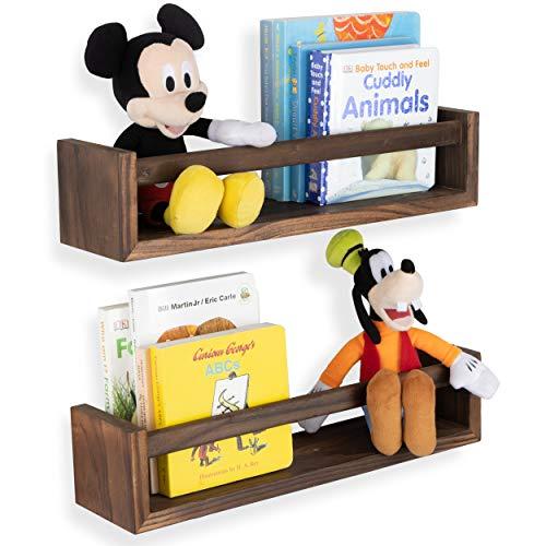 Wallniture Utah Wall Mount Kids Bookshelf Nursery Decor Floating Wall Shelf Photo Display Multiuse Toy Storage Organizer Burnt Wash Brown Set of 2